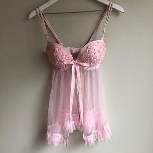 Victoria Secret pink babydoll chemise 34D